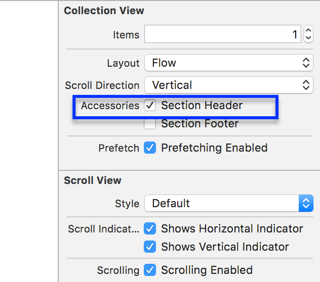 Enable Section Header